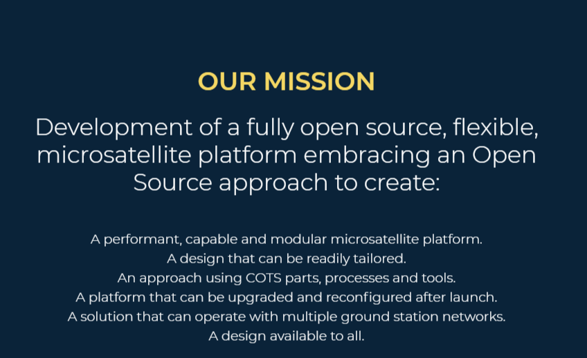 The Open Source Satellite Programme Vision